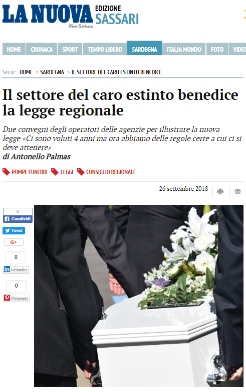 nuova sardegna articolo su Legge 32 funeraria