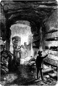 Interni delle catacombe in una stampa del XIX secolo